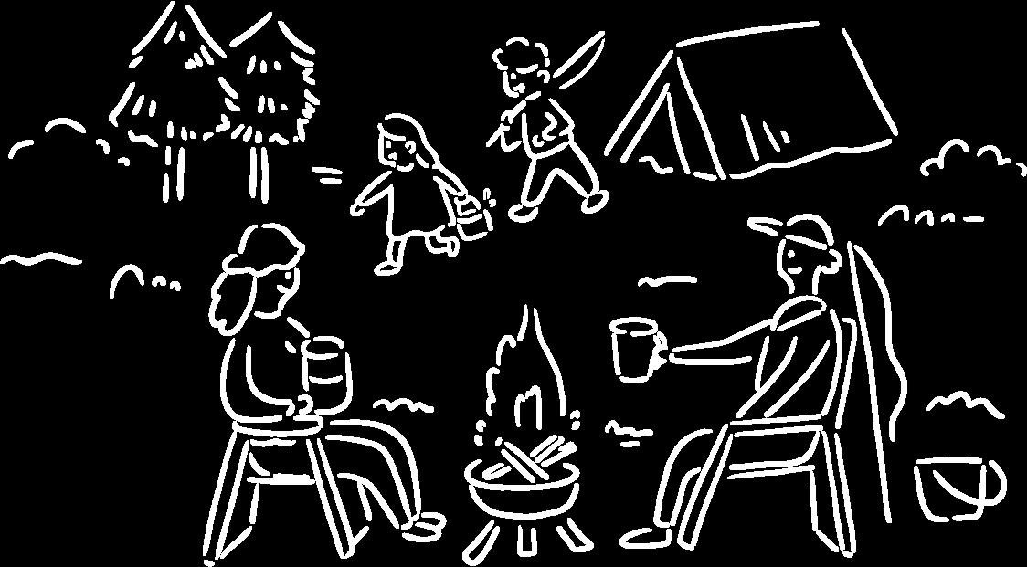 キャンプを楽しむ2人のイラスト