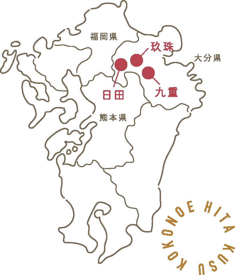 大分県の日田・九重・玖珠の地図イラスト