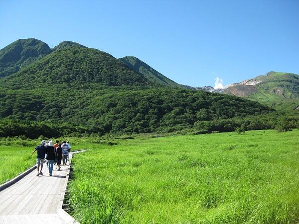 タデ原湿原の画像。湿原には散策路が設備されている。